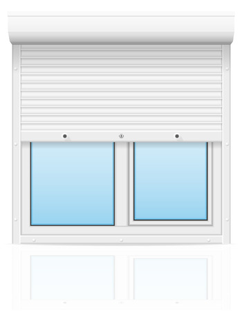 plastic window with rolling shutters vector illustration isolated on white background illustration