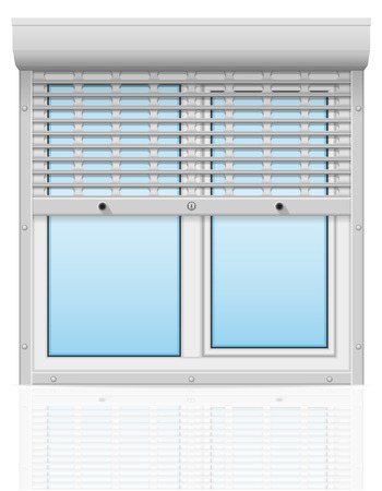 plastic window behind metal perforated rolling shutters vector illustration isolated on white background illustration