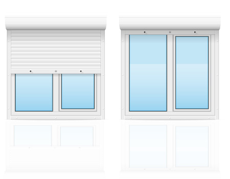 plastic window with rolling shutters vector illustration isolated on white background Stock Photo