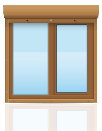 brown plastic window with rolling shutters vector illustration isolated on white background illustration