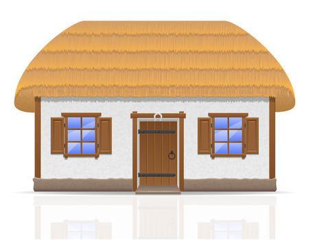 thatched: ancient farmhouse with a thatched roof vector illustration isolated on white background