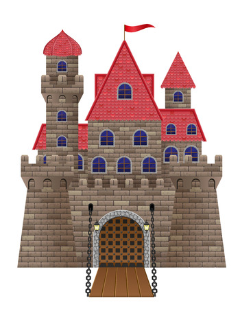 castle cartoon: ancient old stone castle vector illustration isolated on white background