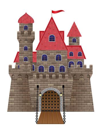 castillo medieval: antigua vieja ilustraci�n vectorial Castillo de piedra aislada en el fondo blanco Foto de archivo