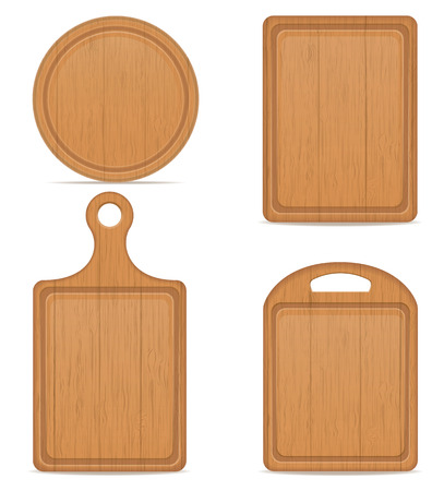 wooden cutting board vector illustration isolated on white background Stock Photo
