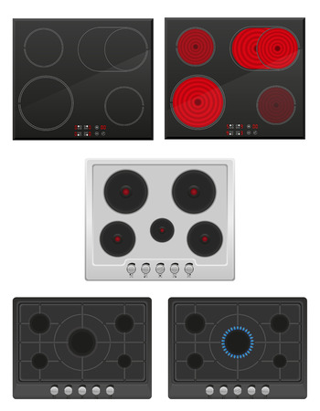 inductive: set surface for electric and gas stove vector illustration isolated on white background