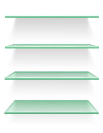 transparent glass shelf vector illustration isolated on white background illustration