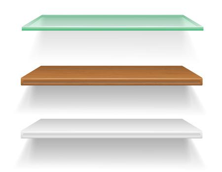Boekenplank Van Glas.Transparant Glas Plank Vector Illustratie Geisoleerd Op Een