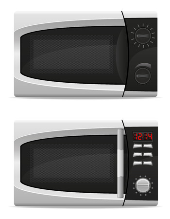 electronically: microwave oven with mechanical and electronically controlled vector illustration isolated on white background