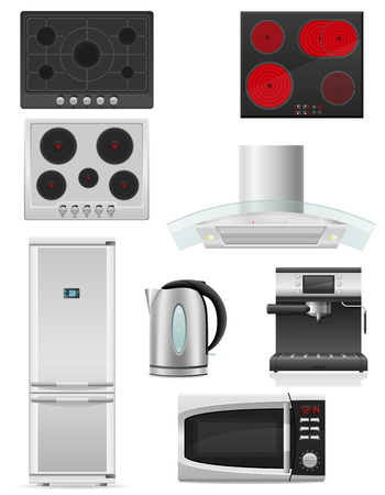 set of kitchen appliances vector illustration isolated on white background illustration