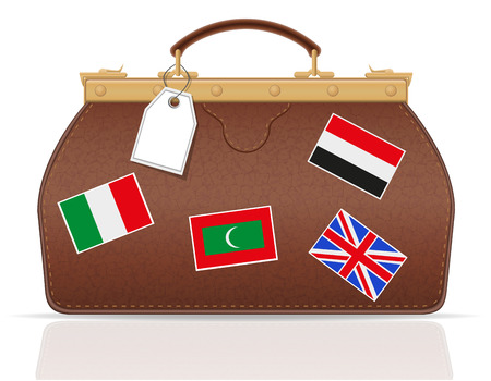 valise: leather valise travel with constipation vector illustration isolated on white background