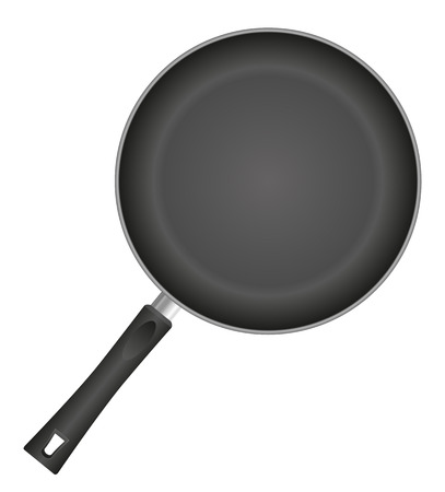 stainless steel pot: frying pan vector illustration isolated on white background Stock Photo