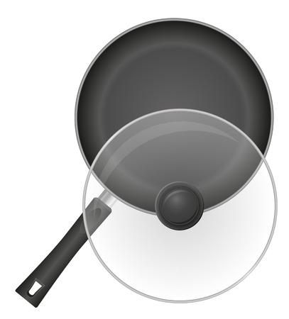 frying pan with a transparent cover vector illustration isolated on white background Stock Photo