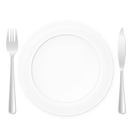 dinning table: plate with fork and knife vector illustration isolated on white background Stock Photo