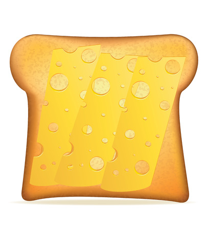 toasted sandwich: toast with cheese vector illustration isolated on white background Stock Photo