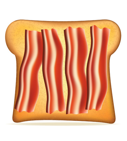 toasted: toast with bacon vector illustration isolated on white background