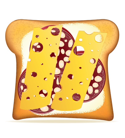 buttered: buttered toast sausage and cheese vector illustration isolated on white background