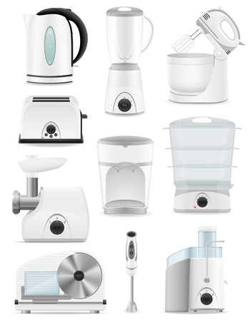 electrical appliances: set icons electrical appliances for the kitchen vector illustration isolated on white background