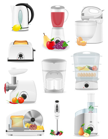 home appliances: set icons electrical appliances for the kitchen vector illustration isolated on white background