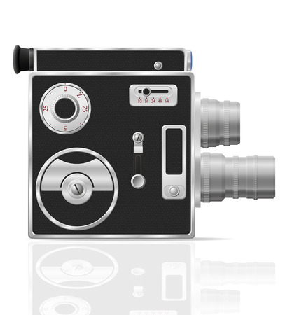 cinematographer: old retro vintage movie video camera vector illustration isolated on white background