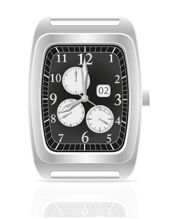 silver mechanical wristwatch vector illustration isolated on white background illustration