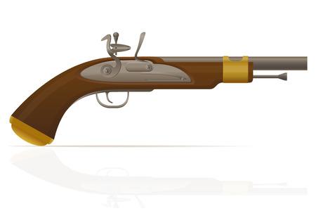 flintlock: old retro flintlock pistol vector illustration isolated on white background Stock Photo