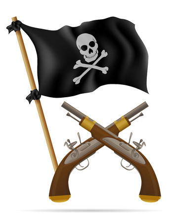 antique pistols: pirate flag and pistols vector illustration isolated on white background Stock Photo