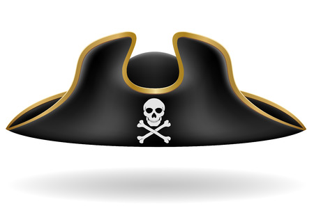 period costume: pirate hat tricorn vector illustration isolated on white background