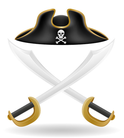 period costume: pirate hat tricorn and sword vector illustration isolated on white background
