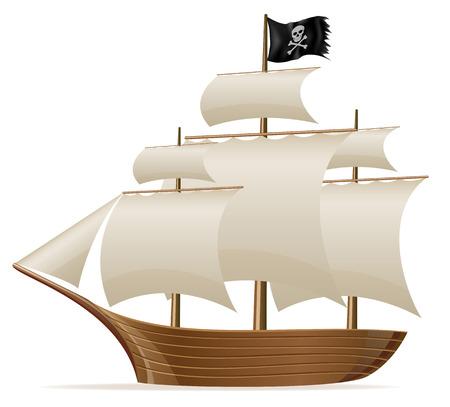 白い背景に分離された海賊船ベクトル図