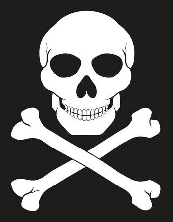 calavera caricatura: cr�neo y las tibias cruzadas ilustraci�n vectorial pirata aislado en fondo blanco Foto de archivo