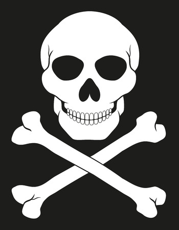 pirate skull and crossbones vector illustration isolated on white background Stock Photo