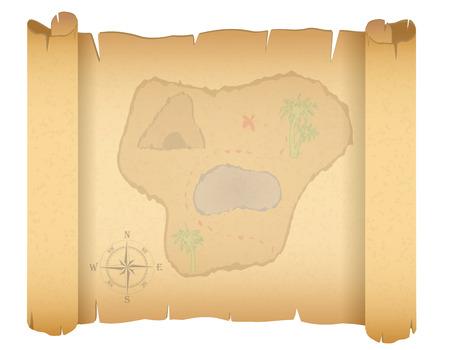 isla del tesoro: mapa del tesoro pirata ilustraci�n vectorial aislados en fondo blanco
