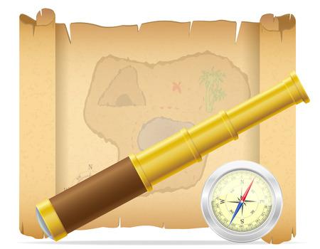 isla del tesoro: mapa del tesoro pirata telescopio con ilustraci�n br�jula vector aislado en el fondo blanco