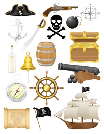 cofre del tesoro: conjunto de iconos de pirata ilustración vectorial aislados en fondo blanco