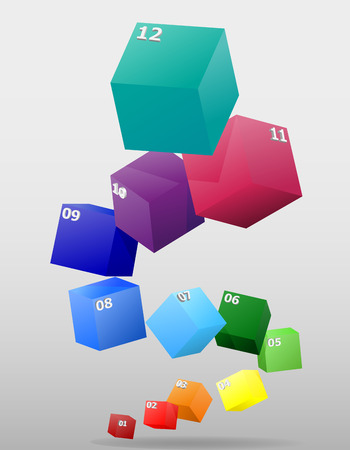 cuboid: infographics cuboid multicolor visually surround 3d vector illustration Stock Photo