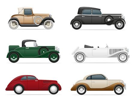 automÓvil caricatura: establecer iconos vieja ilustración vectorial coche retro aislado en el fondo blanco Foto de archivo