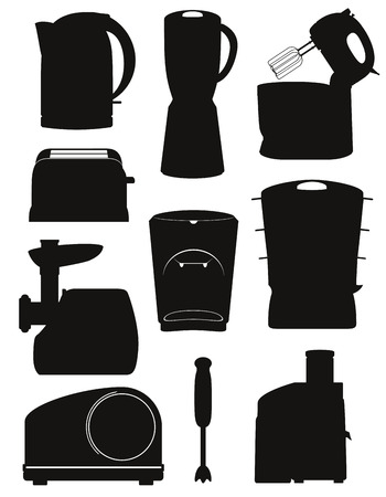 black appliances: set icons electrical appliances for the kitchen black silhouette vector illustration isolated on white background
