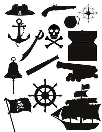 set of pirate icons black silhouette vector illustration isolated on white background illustration
