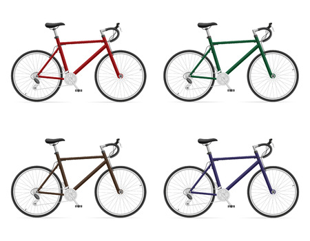 shifting: road bikes with gear shifting vector illustration isolated on white background