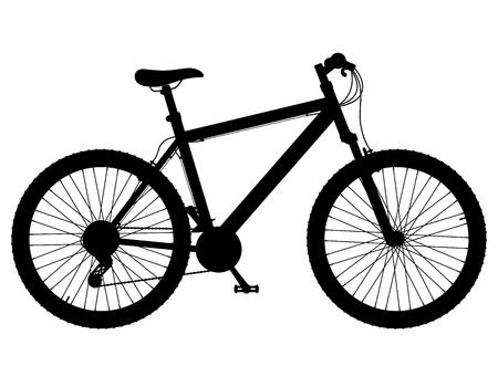 shifting: mountain bike with gear shifting black silhouette vector illustration isolated on white background
