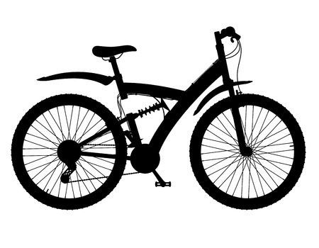 shock absorber: sports bikes with the rear shock absorber black silhouette vector illustration isolated on white background