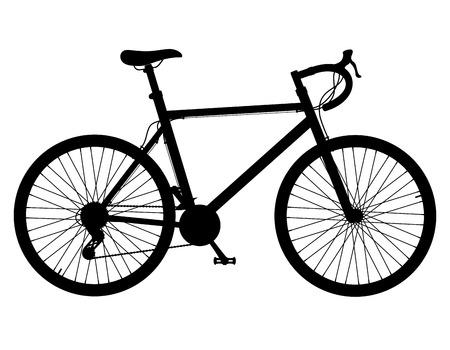 変速白い背景で隔離の黒いシルエット ベクトル図のロードバイク 写真素材