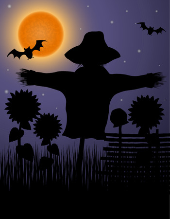 scarecrow black silhouette in the night sky and the moon vector illustration illustration