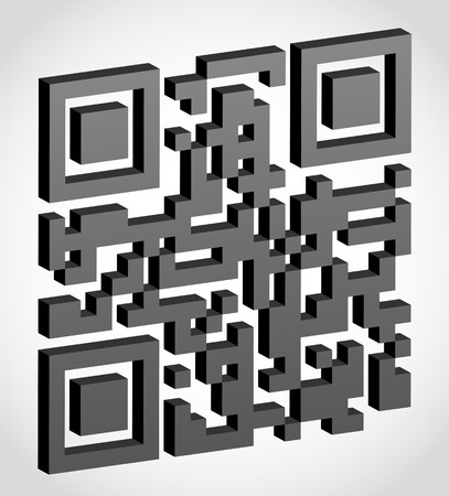 visually: abstract qr code visually 3d effect vector illustration isolated on white background Stock Photo