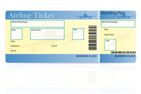 plane ticket: airline ticket business class vector illustration isolated on white background