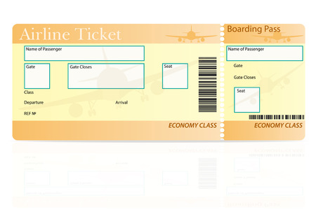 economy class: airline ticket economy class vector illustration isolated on white background