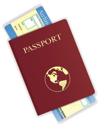 pasaporte: ilustración pasaporte y billete de avión vector aislado en el fondo blanco