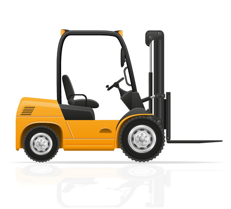 work crate: forklift truck vector illustration isolated on white background Stock Photo