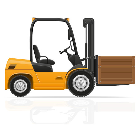 forklift truck: forklift truck vector illustration isolated on white background Stock Photo