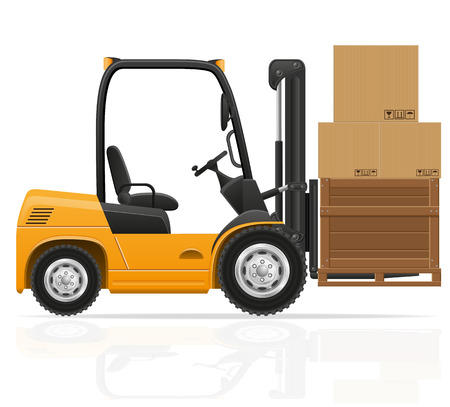 forklift: forklift truck vector illustration isolated on white background Stock Photo